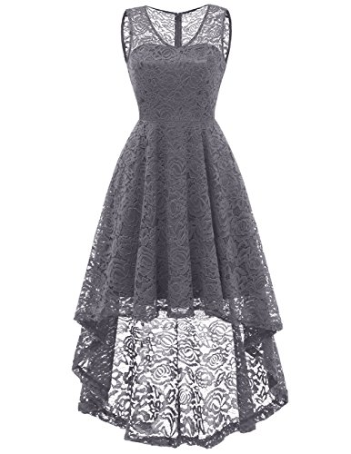 DRESSTELLS Women's Cocktail V-Neck Dress Floral Lace Hi-Lo Formal Swing Party Dress Grey XL by DRESSTELLS