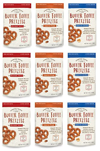 Everton Toffee Butter Toffee Pretzels, Variety Pack (4 oz. bag, 9-pack). Gourmet Artisan Toffee Covered Pretzels, Sweet and Salty Mini Pretzel Snacks, Small Batch Crafted (Pretzel Toffee)