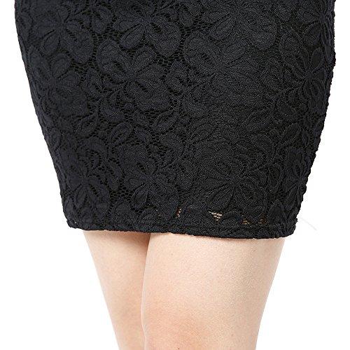 Para Negro Encaje Mujeres Falda Slim Vestidos Cóctel 2 de Fiesta Tkiames Floral Mini Vestido Elegante Bodas Fiesta Dress SwUfSq