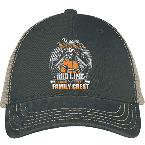 Family Crest Trucker Hat - This Is Just A Red Line Hat, It's A Family Crest District Mesh Back Cap (District Mesh Back Cap - Black)