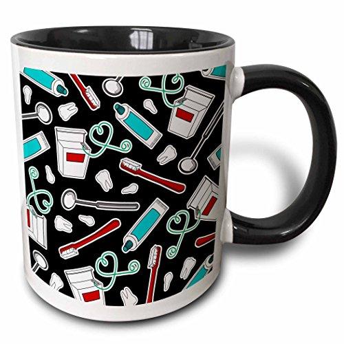 Hygienist Mug - 3dRose mug_165819_4 Cute Dentist Dental Hygienist Print Black - Two Tone Black Mug, 11oz