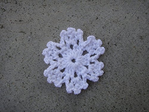 Handmade Crochet Mini Doily 2 Inches Snowflake White Motifs Set of 10