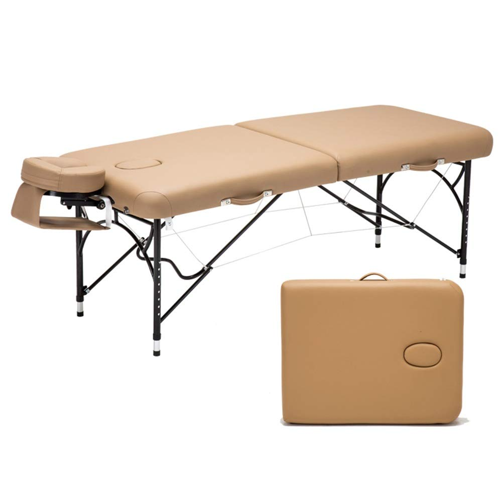 LJHA マッサージのベッド、アルミニウムフレームのベッドの足が付いている携帯用折るベッドの家の美の理学療法のベッド マッサージテーブル (色 : 淡褐色) B07RSJ65MP 淡褐色