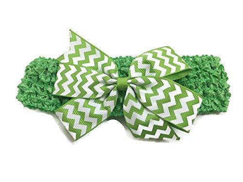 Rush Dance Chevron Zig Zag Sassy Stretch Baby Headband (Light Green & White) (Sassy Dance Costumes)