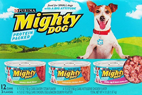 Purina ~ Mighty Dog for Small Dogs ~ Protein Packed 3 Flavor Variety Pack ~ 1 Box of 12 Cans ~ (Hearty Chopped / Blue Pack)