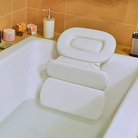 HALOViE Almohada de Baño Bañera PU Plegable Triple Antideslizante Impermeable Cómodo para Cabeza Cuello Cojín Reposacabezas para Jacuzzi SPA ...
