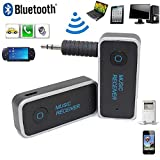 YJYP® Mini Bluetooth 4.1 Car Kit Wireless Music Audio Receiver - A2DP Stereo Streaming Adapter with 3.5mm AUX Port Output for Home and Car Audio Sound system iPhone 6 6Plus Galaxy & IOS Android