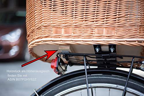 511XBVD0J2L Tigana - Hundefahrradkorb für Gepäckträger aus Weide Natur 56 x 36 cm mit Metallgitter Tierkorb Hinterradkorb Hundekorb…