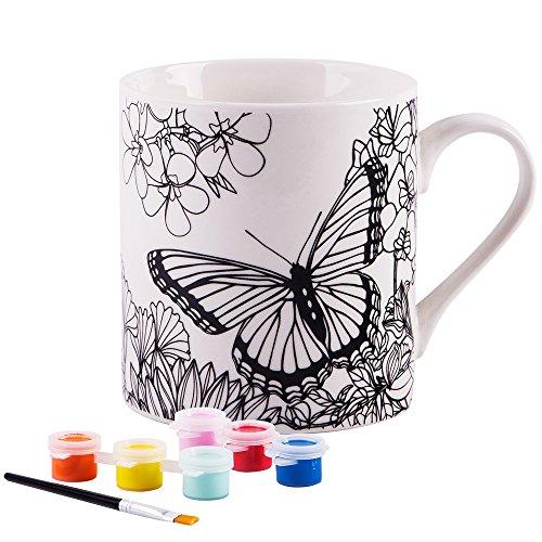 Paint Your Own Mug- White 8 Oz Porcelain Mug (Butterfly)