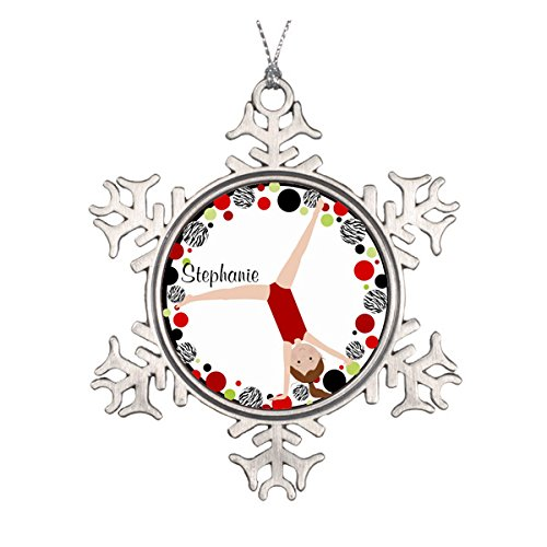 Brown Hair Gymnast Red, Black & Green Personalized Ceramic Round Christmas Ornament