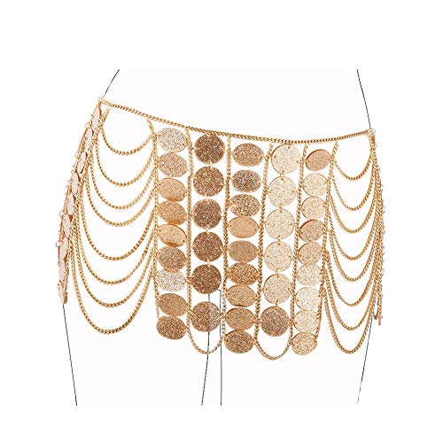 MineSign Vintage Waist Chain Womens Body Chain Jewelry Dancer Boho Indian Waist Belly Chains for Halloween Party Wedding Summer Beach Accessory (Round Pieces Gold Chain)