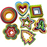 Adecco LLC 37PCS Cookie Cutter Set, Biscuit Cutter Set, Multi-size Sandwich Fondant Cake Fruit Vegetable Shapes Cutter Set Round, heart, flower, square, Christmas tree, star & gingerbread man.