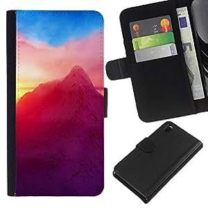KLONGSHOP // Tirón de la caja Cartera de cuero con ranuras para tarjetas - Neón Montaña - Sony Xperia Z3 D6603 //