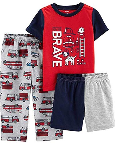 Carter's Boys' 3-Piece Polyester Jersey Pajama Sets (Red/Firefighter,