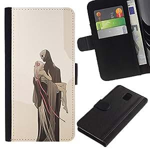 Be-Star la tarjeta de Crédito Slots PU Funda de cuero Monedero caso cubierta de piel Para Samsung Galaxy Note 3 III ( Love Death Monster Blonde Beige )