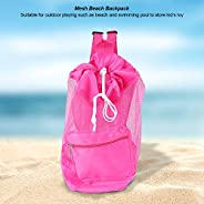 Beach Mesh Tote Bag, Portable Children Kids Mesh Drawstring Backpack Summer Outdoor Beach Shell Toy Storage Ba