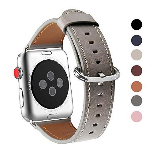 Apple Watch Band 42mm, WFEAGL Retro Top Grain Genuine Leather Band Replacement Strap with Stainless Steel Clasp for iWatch Series 3,Series 2,Series 1,Sport, Edition (Grey Band+Silver Buckle)
