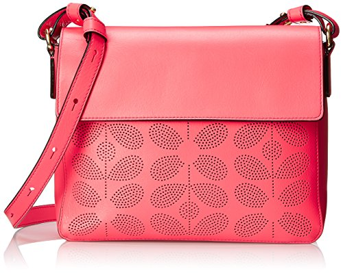 Orla Kiely Sixties Stem Punched Leather Olivia Shoulder Handbag, Pink, One Size by Orla Kiely