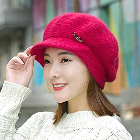 07e08eb7199 Amazon.com  Winter hat female Korean fashion rabbit ear pure duck tongue  Beret thermal knitted woolen cap in autumn and winter