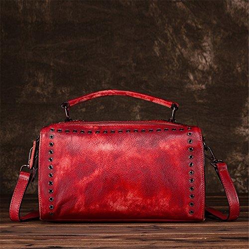 Asdflina Grande capacità Hand-wipe Colour Ms. Pillow Tote Bag Borsa in stile retrò tinta unita Adatto per l'uso quotidiano (Colore : Rosso) Rosso