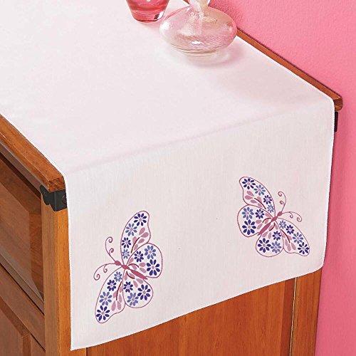 Herrschners Floral Butterflies Dresser Scarf Stamped (Butterflies Dresser Scarf)