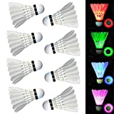 LED Badminton Shuttlecocks Glow in The Dark, Dmeixs Impact-Resistant feather shuttlecock for Outdoor & Indoor Sports