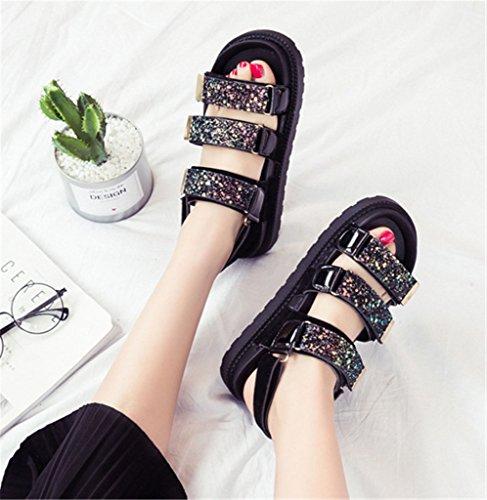 NEWZCERS Verano grueso sandalias de velcro para las mujeres, sandalias de color plano de juego de deportes negro