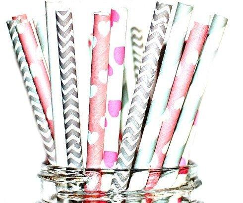 - Paper Straws- Mix of Vintage- Ballerina Hearts- Pink, Gray, Chevron, Polka Dots, Stripes Party Disposable Straws (50 Straws)