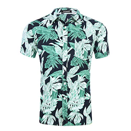 - Hawaiian Shirt Mens Casual Button Down Short Sleeve Party Aloha Holiday Beach Shirt Tropical Summer Beach Shirt Green Leaves Small