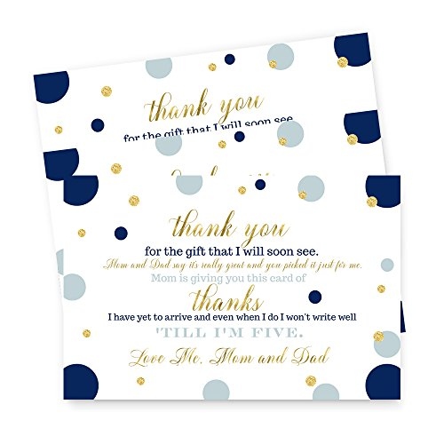 Navy and Gold Baby Shower Thank You Postcard 15 Set ()