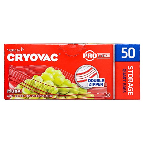 CRYOVAC Resealable Double Zipper Quart Storage Bags (50 Bags)