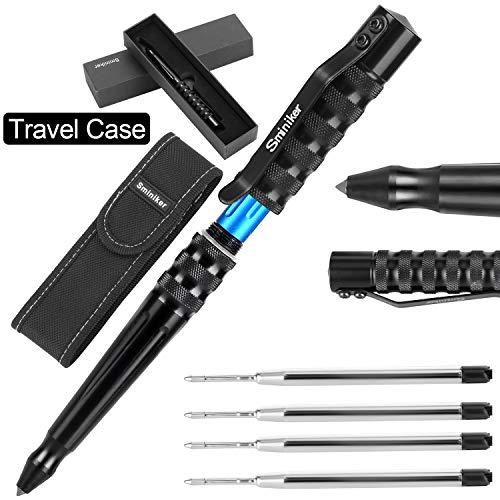 Sminiker Tactical Pen Multifunctional Survival Tool Glass Breaker Ballpoint Pens with Nylon Belt Sheath & 4 Ink Refills & Gift Box