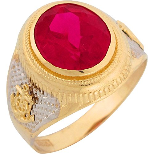 10k Two Tone Gold Simulated Ruby Nautical Anchor Mens Ring