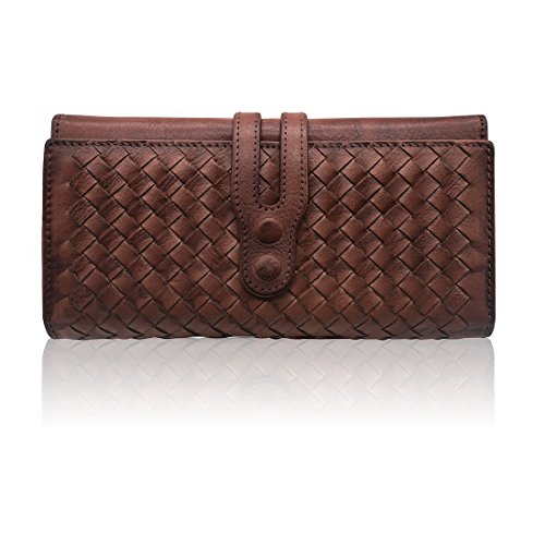 Wallets for Women Genuine Leather Handmade Ladies Woven Wallet Purse Knitting Card Holder(Coffee)