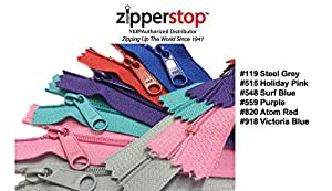 Zipperstop Wholesale YKK® 24 Inch 6pcs Assorted Hottest Colors YKK® #4.5 Handbag Zippers – Extra-long Pull Closed Bottom Made in USA Color #119 Steel Grey, #515 Holiday Pink, #548 Surf Blue, #559 Purple, #820 Atom Red, ##918 Victoria Blue