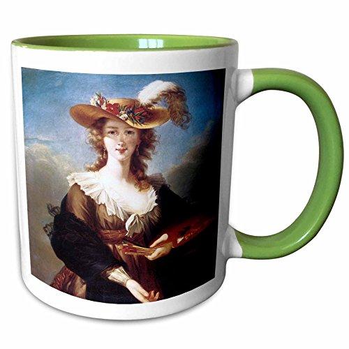 (3dRose BLN Portrait Gallery by the Masters Fine Art Collection - Self-Portrait by Elisabeth Vigee-Lebrun - 15oz Two-Tone Green Mug (mug_128109_12))