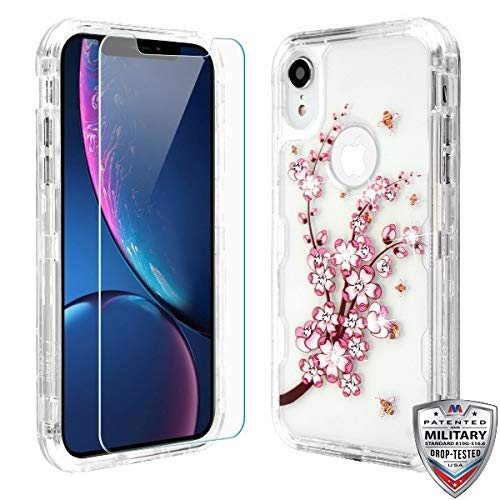Case+Tempered_Glass+Stylus, TUFF Lucid Hybrid Protector Cover [Military-Grade Certified] Fits Apple iPhone XR/iPhone 9 MYBAT Transparent Clear/Pink Spring Flowers and Yellow Bees