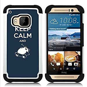 - Kepp Calm and Sleeping - - Fulland Deluxe Hybrid TUFF Rugged Shockproof Rubber + Hard Case Cover FOR HTC One M9 Queen Pattern