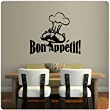 kitchen chef wall stickers - Chef French Bon Appetit Wall Decal Sticker Art Kitchen Mural Home Décor Quote