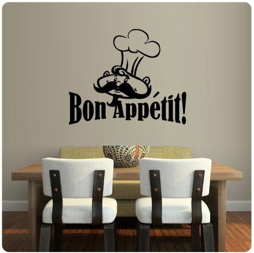 Chef French Bon Appetit Wall Decal Sticker Art Kitchen Mural Home Décor Quote - Chef Theme Kitchen Decor