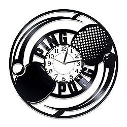Kovides Table Tennis Birthday Gift Idea Sport Vinyl Clock 12 Inch Ping-Pong Handmade Clock for Man and Woman Table Tennis Original Home Decor Sport Vinyl Record Wall Clock