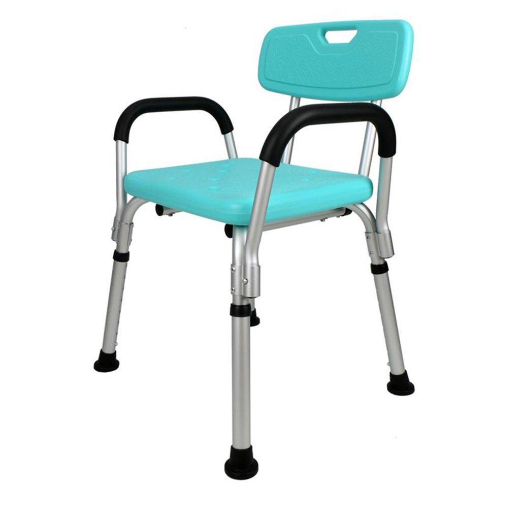 シャワー/バススツール高齢者/障害者のためのアルミ合金シャワーシートスツール背もたれとハンドルのバスタブシート付き8つの高さで調節可能なアンチスリップマットシャワーチェア。 100kg   B07F35S431