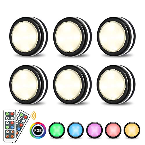 Lighting Battery - LED Closet Lights Elfeland Wireless Color Changing RGB Puck Light 6 Pack with 2 Remote Controls Dimmable Under Cabinet Lighting Battery Powered Lights Under Counter Lighting Stick On Lights