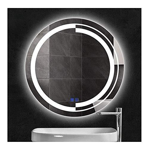 T-T-JINGZI Smart Round Bathroom Mirror Touch Screen led Light Mirror Decorative Mirror -