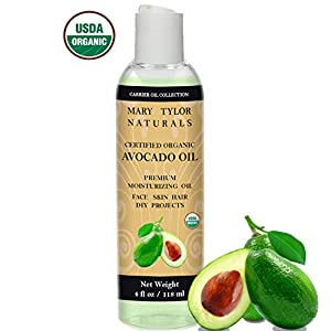 Organic Carrier Oil Set, 4 oz Each, USDA Certified Organic, Castor Oil, Avocado Oil, Apricot Oil, Sweet Almond Oil and Grapeseed Oil, Premium Quality Top 5 Gift Set by Mary Tylor Naturals