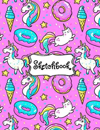 Sketchbook: Cute Unicorn Kawaii Sketchbook for Girls with 100+ Pages of 8.5″x11″ Blank Paper for Drawing, Doodling or Learning to Draw ((Sketch Books For Kids)) (Volume 1)