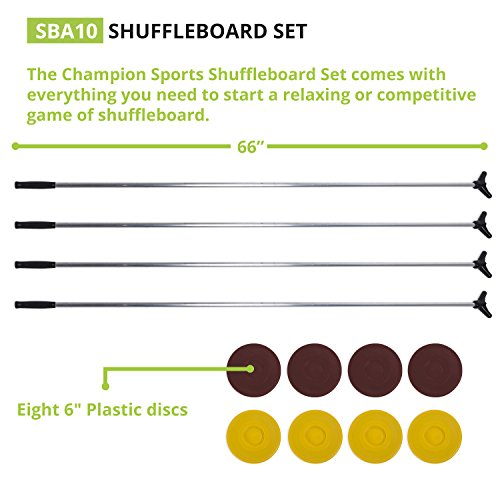 Classic Group Games Shuffleboard Set: Champion Sports Indoor Outdoor 8 Puck 4 Cue Sticks Party Game