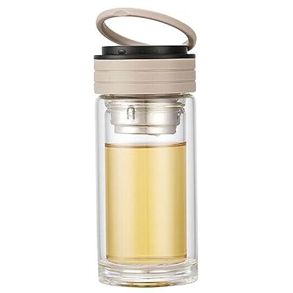 Mode creativos de cristal botella de agua rígida con colador de té Hervidor de agua 250