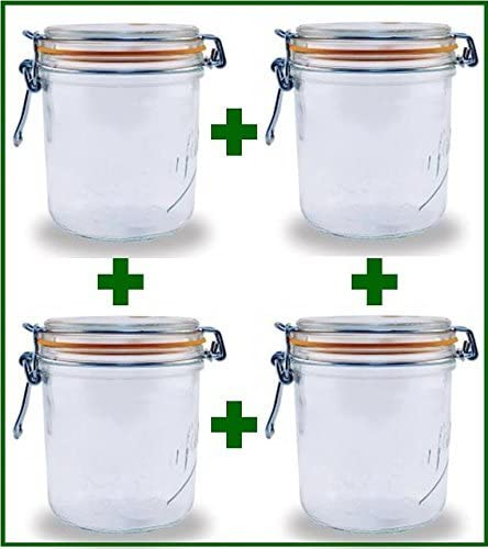 26.25 Oz Each UnAssigned SYNCHKG079121 Set of 4 Le Parfait French Wide Mouth Glass Canning Jars