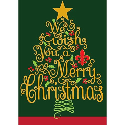 We Wish You a Merry Christmas 18 x 13 Rectangular Double Applique Small Garden ()